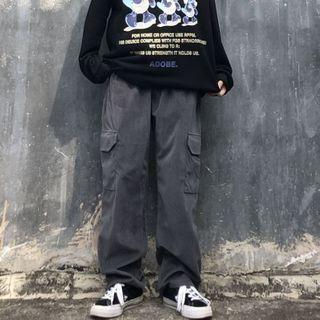 Shineon Studio - 纯色侧口袋宽腿工装裤