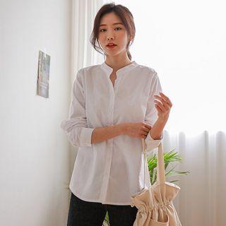 JUSTONE - Pastel Mandarin-Collar Cotton Shirt