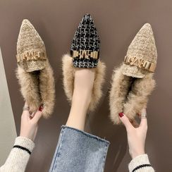 NODO - Furry Trim Pointed Flats