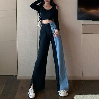 GANGER - High-Waist Two Tone Washed Wide Leg Jeans