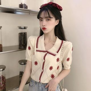 Mikiko - 短袖绣花翻领开衫