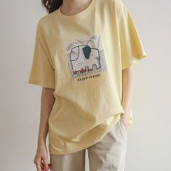 JUSTONE - Elephant Illustration-Printed T-Shirt