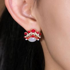 Andante - Non-matching 925 Sterling Silver Gemstone Chinese Opera Earring