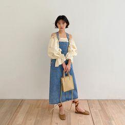 chuu - Long Denim Overall Dress