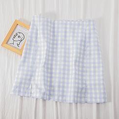 MIMITO - Plaid Slit-Front Mini A-Line Skirt