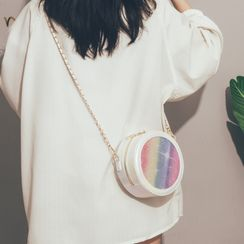 Felicity - Sequined Faux Leather Round Crossbody Bag