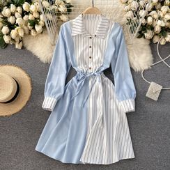 Lucuna - 雙色長袖A字連衣裙