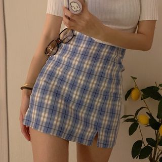 Rhames - High-Waist Plaid Mini Skirt