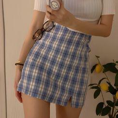 Rhames - 高腰格纹迷你裙