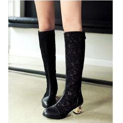 Freesia - 粗跟蕾絲拼接中筒靴