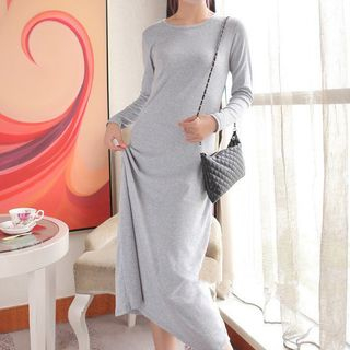 Long-Sleeve Maxi T-Shirt Dress