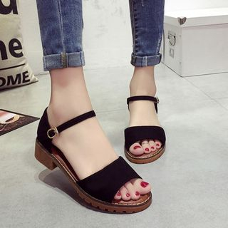 Laceuplux - Ankle-Strap Faux Suede Sandals