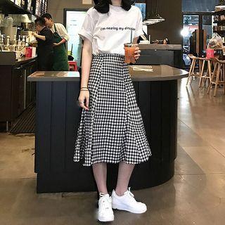 JOWI - 套装: 字母短袖T裇 + 格子A字中长裙