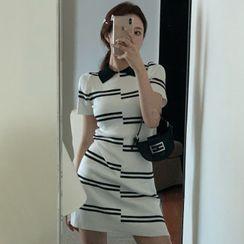 Gilmort - 条纹短袖迷你塑身连衣裙
