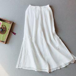 Vateddy - Embroidered Wide-Leg Linen Pants