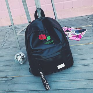 Kaffee - Faux-Leather Rose Embroidered Backpack