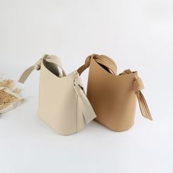 Mimosa(ミモザ) - Set: Faux Leather Crossbody Bucket Bag + Pouch