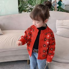 Ruban - Kids Floral Printed Knit  Cardigan