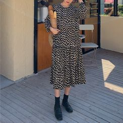 Vanci - 圓點長袖直身連衣中裙