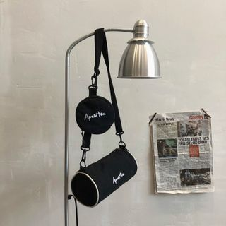 Mulgam - Set: Lettering Barrel Crossbody Bag + Zip Round Pouch