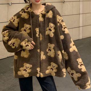 Dute - Bear Print Polar Fleece Zip-Up Hoodie