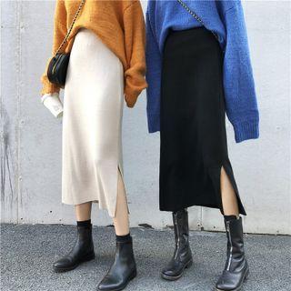 Akino - Side Slit Midi Knit Pencil Skirt