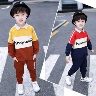 PAM - Kids Set: Long-Sleeve Color Block Letter Top + Sweatpants
