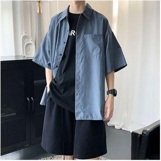 Whyessa - Elbow-Sleeve Button-Up Plain Shirt