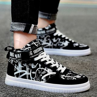HANO - High Top Lace-Up Canvas Sneakers