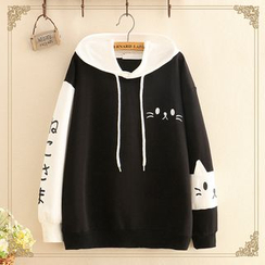Kawaii Fairyland - Cat Motif Two-Tone Hoodie