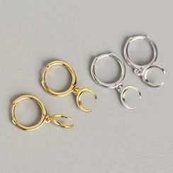 Zundiao - Sterling Silver New Moon Earrings