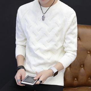 Hankatu - Crew-Neck Sweater / Plain Long-Sleeve Knit Top