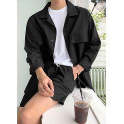 JOGUNSHOP - Flap-Pocket Linen Blend Oversized Shirt