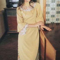 Sofame - 传统中式七分袖A字连衣中裙