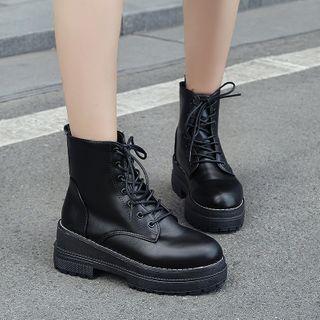 BARCA - Faux Leather Platform Lace-Up Short Boots