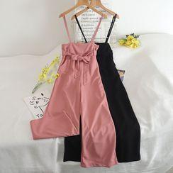 Pinatra - 腰结带宽腿吊带裤