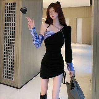 westworlds - Asymmetrical Striped Panel Mini Bodycon Dress