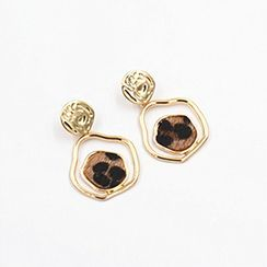 Wiliki - Leopard Print Disc Drop Earring