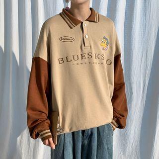Breeson - Polo-Neck Cartoon Embroidered Sweatshirt