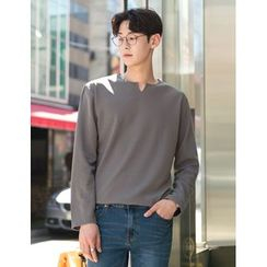 STYLEMAN - Notched-Neckline Textured T-Shirt
