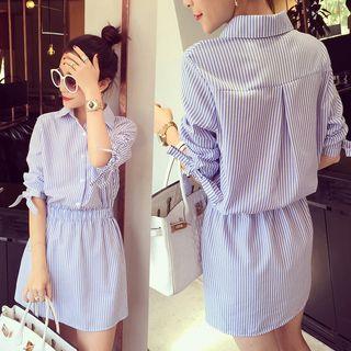 Rocho - Seersucker Stripe Mini Shirtdress