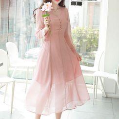 MyFiona - Buttoned Smocked-Waist Maxi Chiffon Dress