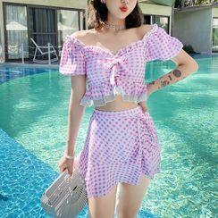 Roseate - 套装: 泡泡袖格子泳衣上衣 + 泳裙