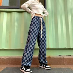 Porstina - Checkered Straight Leg Washed Jeans