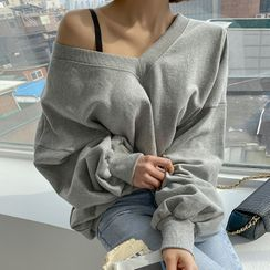 DABAGIRL - V-Neck Drop-Shoulder Sweatshirt