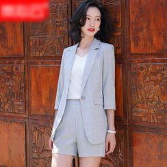 Skyheart - 纯色中袖西装外套 / 西裤 / 铅笔裙 / 短裤 / 套装