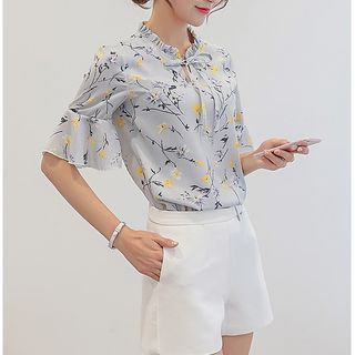 YUMU - Floral Print Short-Sleeve Chiffon Blouse