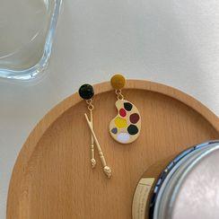 Bmuse - Paint Brush & Palette Asymmetric Glaze Dangle Earring
