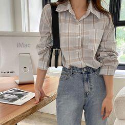 Envy Look - Drop-Shoulder Plaid Shirt