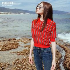 MOFFI - Elbow-Sleeved Striped Polo Shirt